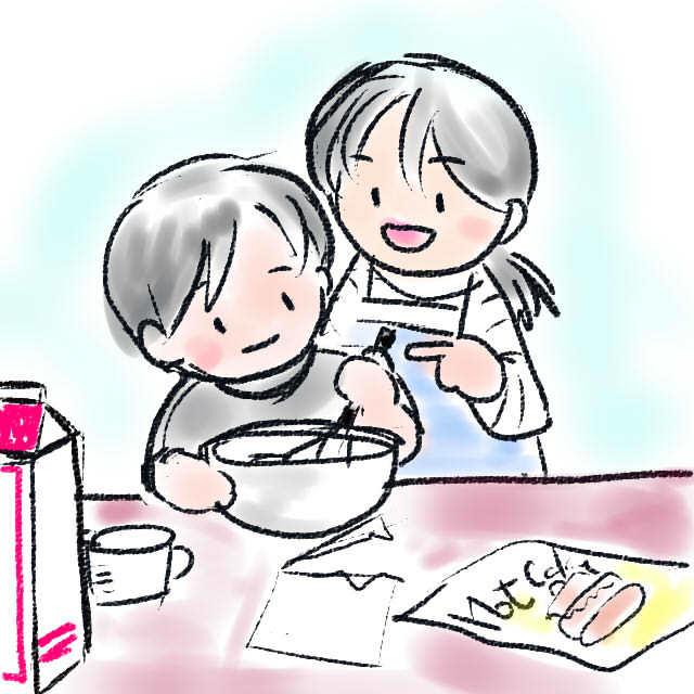 土曜日の朝は子どもが朝ごはん作ろう。